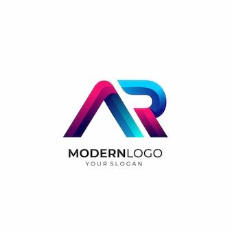 Modello di logo moderno lettera ar