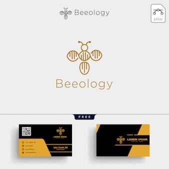 Modello di logo molecolare del dna dell'ape e design del biglietto da visita