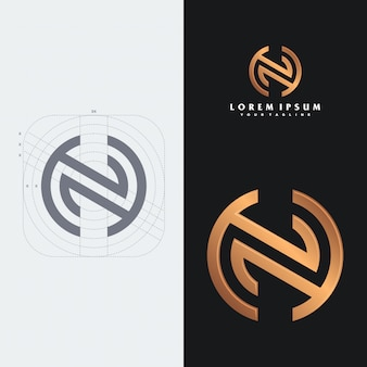 Modello di logo monogramma nh.