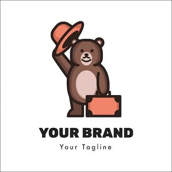 Modello di logo orso carino