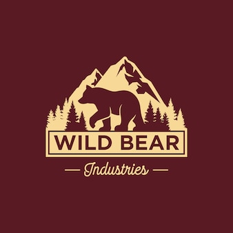 Modello di logo orso vintage
