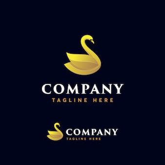 Modello di logo premium cigno