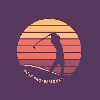 Modello di logo retrò vintage professionale di golf con silhouette e tramonto