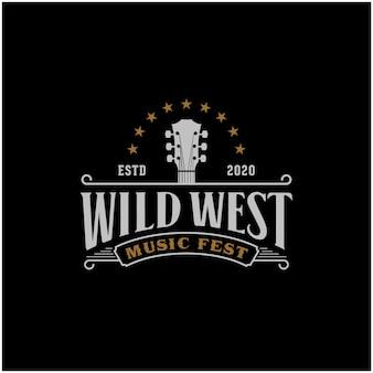 Modello di logo retrò western musica country