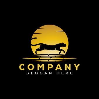 Modello di logo run jaguar di lusso dorato