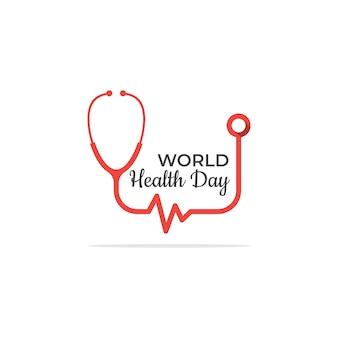Modello di logo semplice giornata della salute con lo stetoscopio