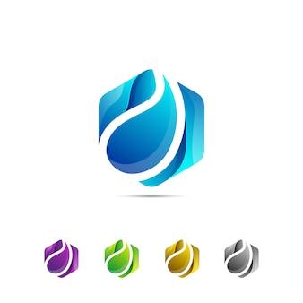 Modello di logo semplice goccia di acqua fresca esagono
