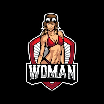 Modello di logo sexy donna