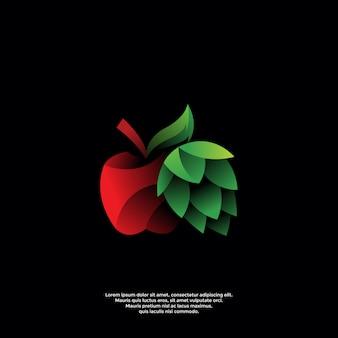 Modello di logo sfumato di mela e luppolo