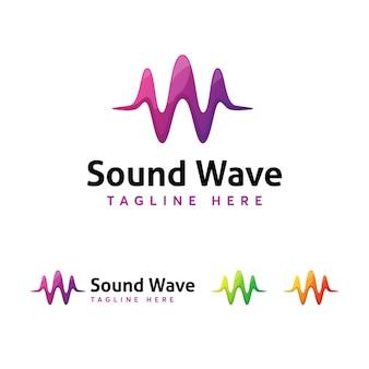 Modello di logo sound wave