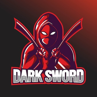 Modello di logo sport bounty hunter con spada