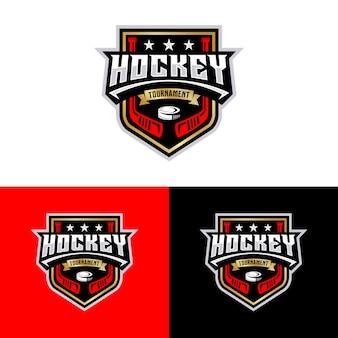Modello di logo sport torneo di hockey.