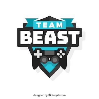 Modello di logo squadra di e-sport con joystick