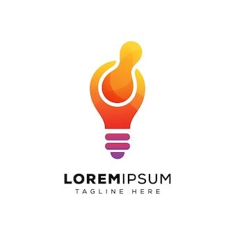 Modello di logo techno lampadina
