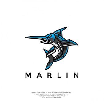 Modello di logo unico pesce marlin robotico
