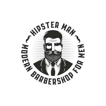 Modello di logo uomo barbuto hipster