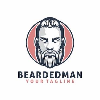 Modello di logo uomo barbuto