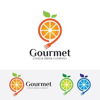 Modello di logo vettoriale gourmet frutta