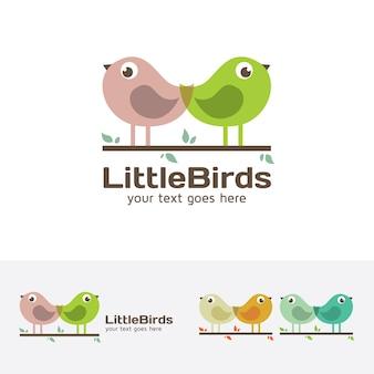 Modello di logo vettoriale piccolo uccello