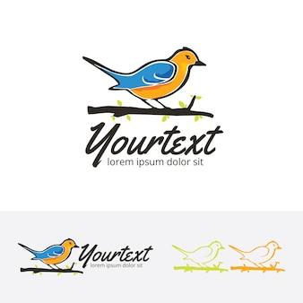 Modello di logo vettoriale uccello libero