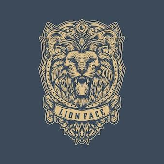 Modello di logo vintage leone
