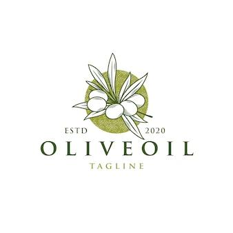 Modello di logo vintage ramo d'ulivo