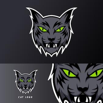 Modello di logog esport esportatore di sport mascotte gatto arrabbiato nero