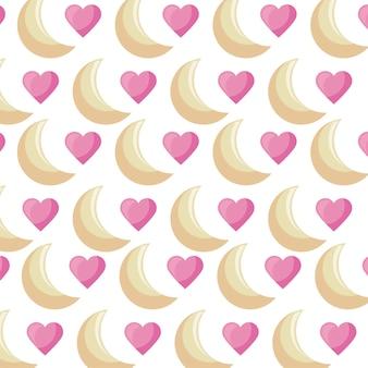 Modello di lune e cuori amore