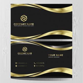 Modello di lusso biglietto da visita in oro e argento