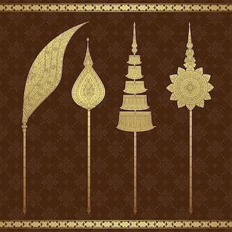 Modello di lusso del tempio e del fondo di arte tailandese