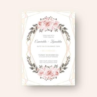 Modello di lusso della carta dell'invito di nozze del fiore dell'acquerello