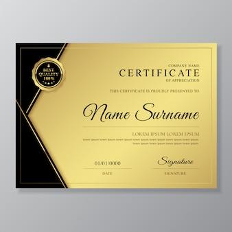 Modello di lusso e moderno certificato e diploma di apprezzamento