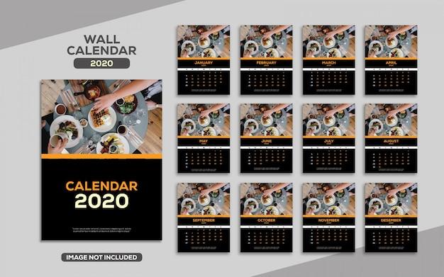 Modello di lusso elegante calendario da parete 2020