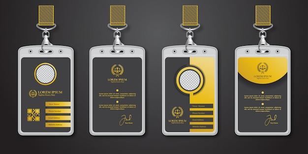 Modello di lusso oro e nero id card design