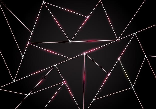 Modello di lusso poligonale e sfondo di triangoli in oro rosa