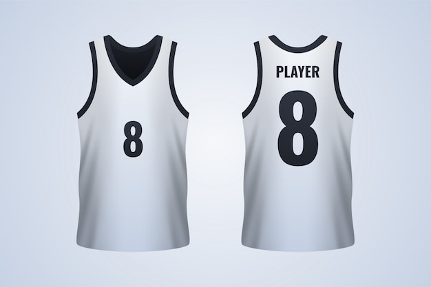 Modello di maglia da basket bianco anteriore e posteriore