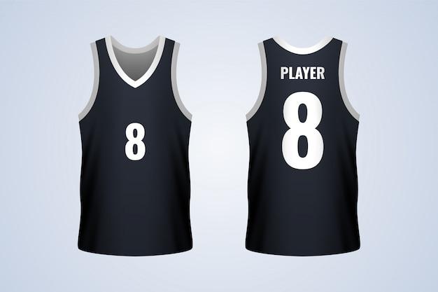 Modello di maglia da basket nera anteriore e posteriore