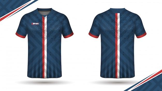 Modello di maglia da calcio davanti e dietro