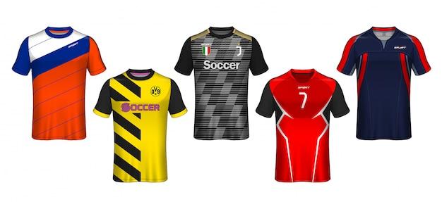 Modello di maglia da calcio design t-shirt sportiva.