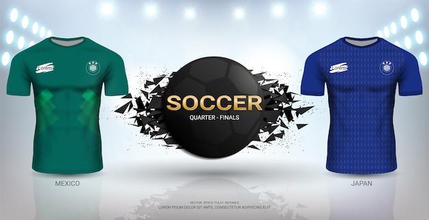 Modello di maglia da calcio giappone vs messico.