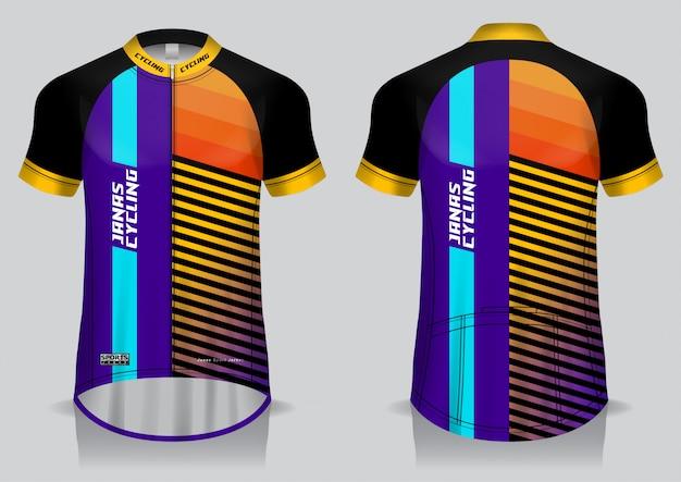 Modello di maglia da ciclismo, maglietta uniforme, vista anteriore e posteriore