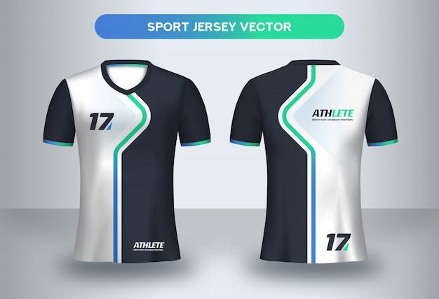 Modello di maglietta da calcio, maglietta da calcio uniforme vista frontale e posteriore.