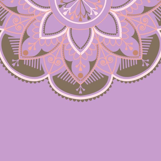 Modello di mandala viola e marrone su sfondo viola