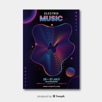 Modello di manifesto astratto festival musicale