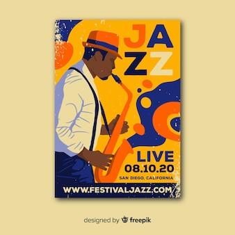 Modello di manifesto astratto musica jazz