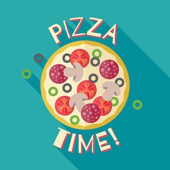 Modello di manifesto banner tempo pizza