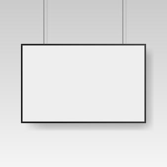 Modello di manifesto bianco bianco con cornice nera. affiche, foglio di carta.