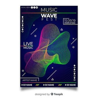 Modello di manifesto colorato musica astratta