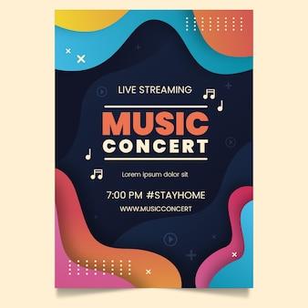 Modello di manifesto del concerto di musica in diretta streaming