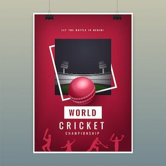 Modello di manifesto del cricket del mondo con palla realistico sul parco giochi di notte vista